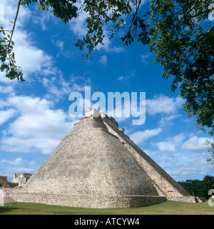 Pyramid of the Magician at the Mayan Ruins of Uxmal, Yucatan Peninsula, Mexico - Stock Photo