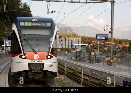 Train in station Brienz Switzerland - Stock Photo