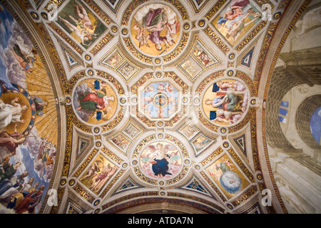 Room of the Segnatura ceiling, Raphael's rooms, Vatican Museums - Stock Photo