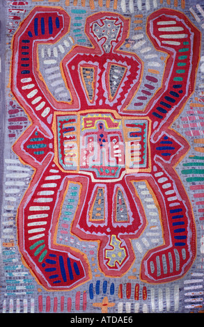 Applique decoration applied to blouses Molas s of the Kuna Indians San Blas Islands Panama - Stock Photo