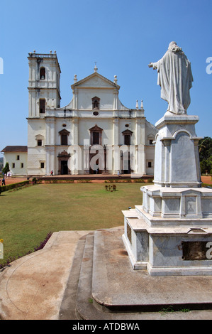 Statue of Jesus in front of Se Cathedral, Old Goa, India - Stock Photo