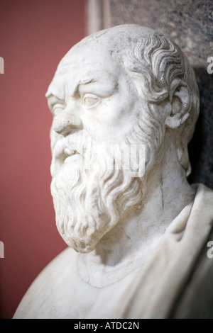 Bust of Socrates. Marble, Roman copy after a Greek original from the 4th century BC, Vatican Museums - Stock Photo