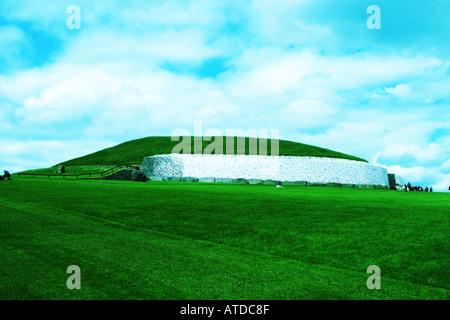 The main mound at Newgrange in County Meath Ireland - Stock Photo