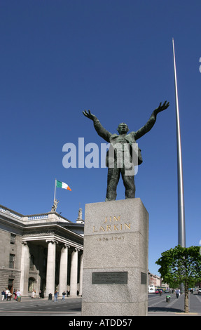 Statue of Jim Larkin and the General Post Office GPO on O Connell Street Lower in Dublin Ireland - Stock Photo