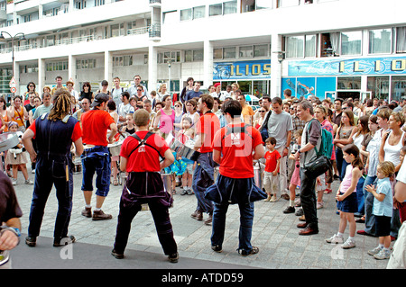 World Music Day, Paris France, People Enjoying Marching Band Music at Summer Festival on Paris Street - Stock Photo