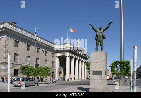 The statue of Jim Larkin and General Post Office GPO on O Connell Street Lower in Dublin Ireland - Stock Photo