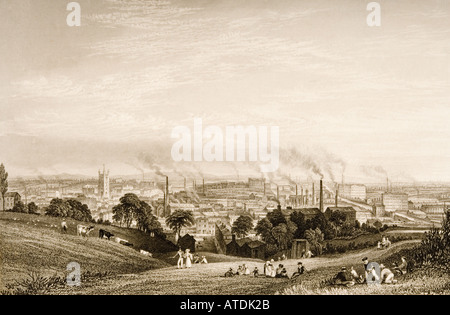 General view of Stockport Lancashire in 1830s showing cotton mills - Stock Photo