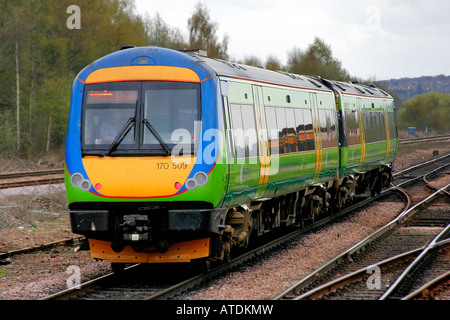 170509 Central Trains Turbostar Unit at Chesterfield Station East Midlands Line England Britain UK - Stock Photo