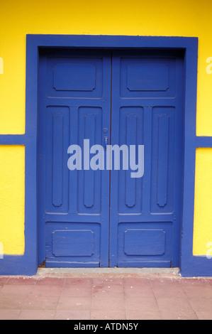 Blue door of restored house in the town of Moyogalpa, Isla de Ometepe  or Ometepe Island, Nicaragua - Stock Photo