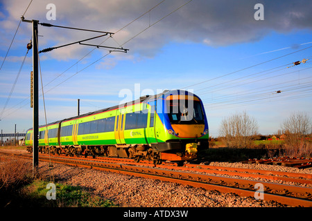 170516 Central Trains Turbostar Unit heads south at Werrington near Peterborough Cambridgeshire England Britain - Stock Photo