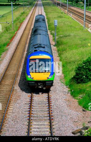 170635 Central Trains Turbostar Unit heads south at Werrington near Peterborough Cambridgeshire England Britain - Stock Photo
