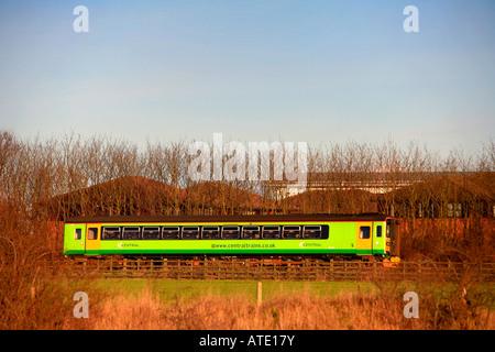 Central Trains 153 Unit heads south at Werrington near Peterborough Cambridgeshire England Britain UK - Stock Photo