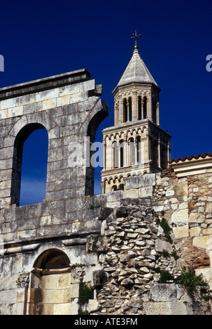 St Dominus Bell Tower with Silver Gate of Diocletians Palace in the Foreground in Split Croatia - Stock Photo