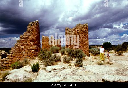 CO Colorado Mesa Verde National Park Hovenweep anasazi cliff dwellers ancient adobe - Stock Photo