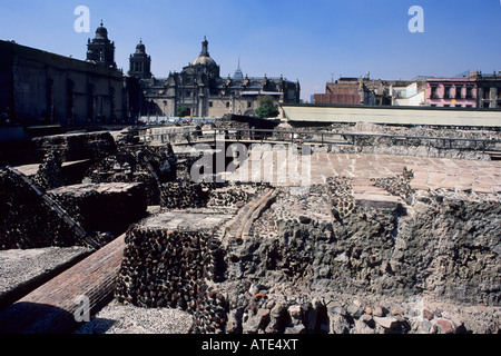 Great Pyramid or Templo Mayor ruins being excavated under the National Cathedral in central Mexico City - Stock Photo