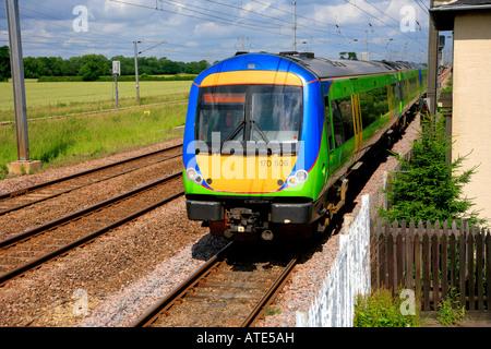 170506 Central Trains Turbostar Unit heads south at Werrington near Peterborough Cambridgeshire England Britain - Stock Photo