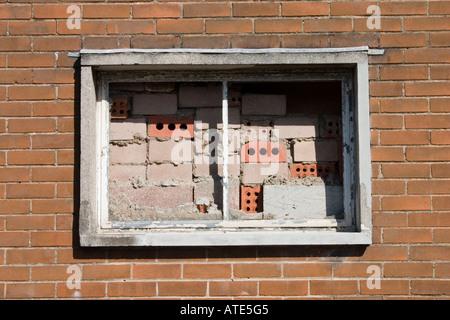 Window blocked with some stunning brickwork Roath Cardiff UK - Stock Photo