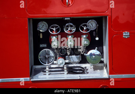 Fire engines at a vintage vehicle rally - Stock Photo