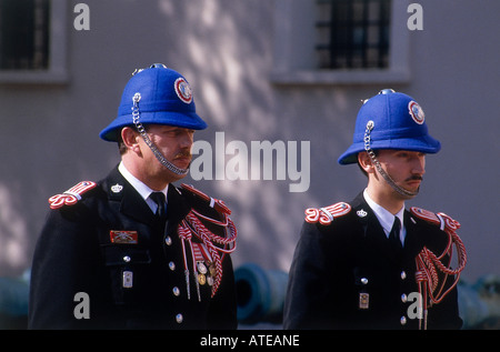 At attention in the dappled shade two members of the Royal Guard taking part in the ceremony of changing of the - Stock Photo