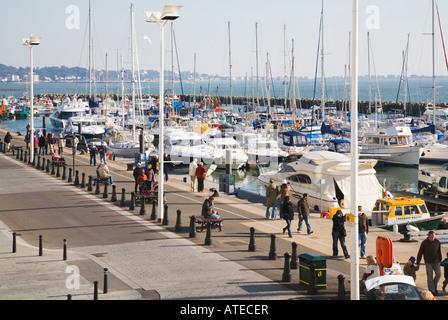 A view over Poole Quay Marina, Poole harbour, Dorset, UK. - Stock Photo