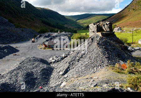 Aberllefenni Slate Quarry worked continuously from 16th century until it closed in 2003 near Corris Gwynedd Wales - Stock Photo