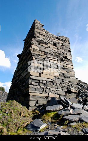 Aberllefenni Slate Quarry worked continuously from 16th century until it closed in 2003 near Corris Gwynedd Mid - Stock Photo