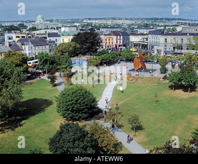 Galway County Galway Republic of Ireland High view of Eyre Square - Stock Photo