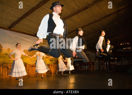 The folk dance group 'Domjan' performing in a csarda (traditional hungarian tavern) in Budapest / Hungary - Stock Photo