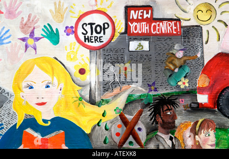 Mural on wall of Youth Centre building in Ludlow Shropshire England UK - Stock Photo