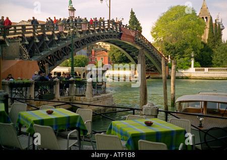 Venetian architecture Canals bridges gondolas & cafeterias Ponte dell'Accademia Venice Veneto Northeast Northern - Stock Photo
