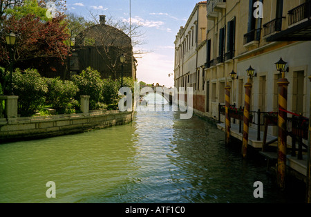 Venetian architecture with countless little canals bridges & gondolas Venice Veneto Northeast Northern Italy Europe - Stock Photo