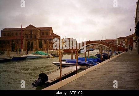 Venetian architecture with little canals bridges & gondolas Murano Venice Veneto Northeast Northern Italy Europe - Stock Photo