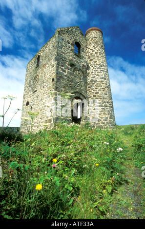 Wheal Reath ruined cornish tin mine engine house Cripplesease near St Ives West Cornwall England UK United Kingdom - Stock Photo