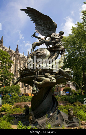 Peace Fountain, Children's Sculpture Garden, Cathedral Church of Saint John the Divine,  Manhattan, New York - Stock Photo