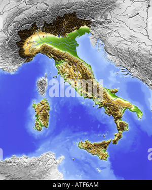 Relief map of Italy - Stock Photo