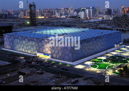 National Swimming Centre for the Beijing 2008 Olympic Games at dusk.  27-Feb-2008 - Stock Photo
