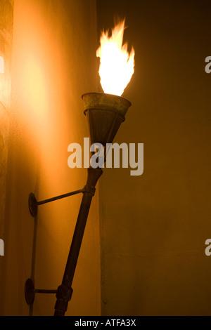 Flaming torch at Four Seasons Langkawi, Malaysia @ Jalan Tanjung Rhu, Kedah - Stock Photo