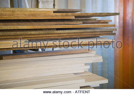 Stacked planks - Stock Photo