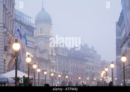 Fog in town, Rijeka in Croatia - Stock Photo