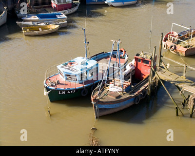 Fishing Boats tied up in Kings Lynn - Stock Photo