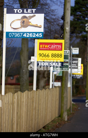 estate agents for sale to let signs in a row - Stock Photo