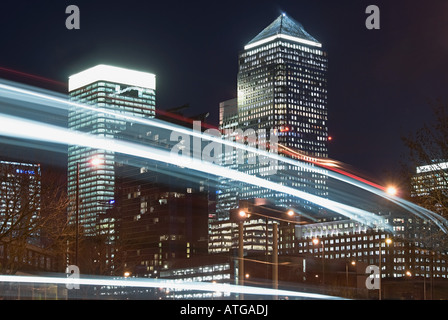 Lights and canary wharf - Stock Photo