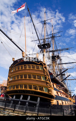 A stern view of the oldest commissioned warship in the world the Royal Navy man of war HMS Victory - Stock Photo