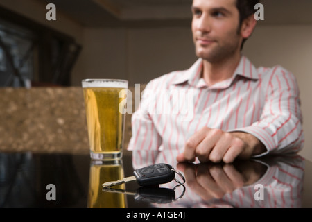Car keys and a pint of lager