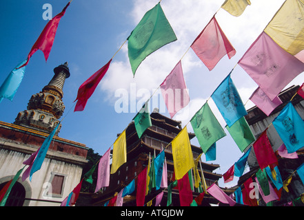 Prayer flags at Chengde's Temple of Potaraka Doctrine Lesser Potala Palace one of the Eight Outer Temples - Stock Photo