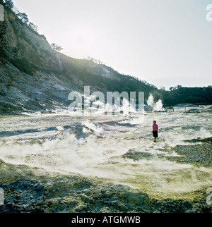 Steam and sulphurous fumes arising from the earth s crust on passive volcano Solfatara Pozzuoli Naples Italy EU - Stock Photo