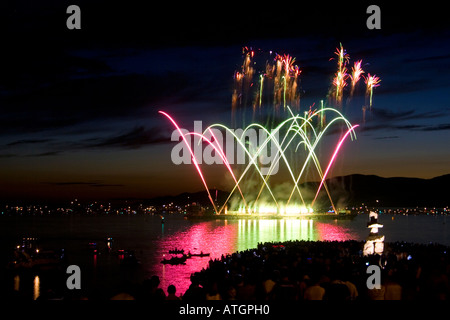 View of Symphony of Fire/Celebration of Light fireworks celebration at English Bay in Vancouver, British Columbia, - Stock Photo