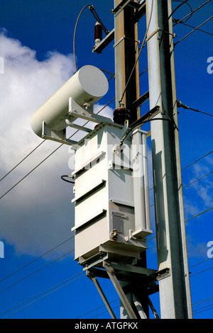 Overhead Electricity Power lines for electric trains at Lolham Peterborough Cambridgeshire ECM Line England UK - Stock Photo