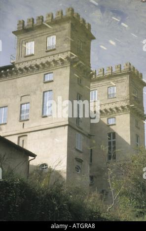 A reflex of a villa along the Navigli river, Milan - Stock Photo