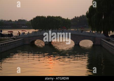 Back Lake of Shichahai, Beijing, China - Stock Photo